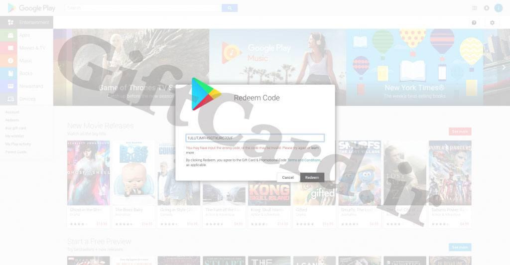 پیغام های خطای گیفت کارت گوگل پلی - ۲