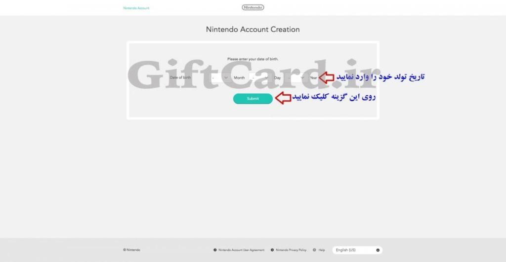آموزش ساخت اکانت گیفت کارت نینتندو Nintendo - ۳