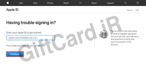 فراموش کردن رمز اپل ایدي ۲