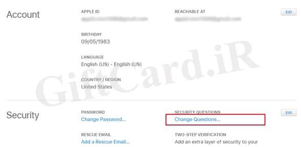 نحوه تغییر سوالات امنیتی اپل ایدی 31